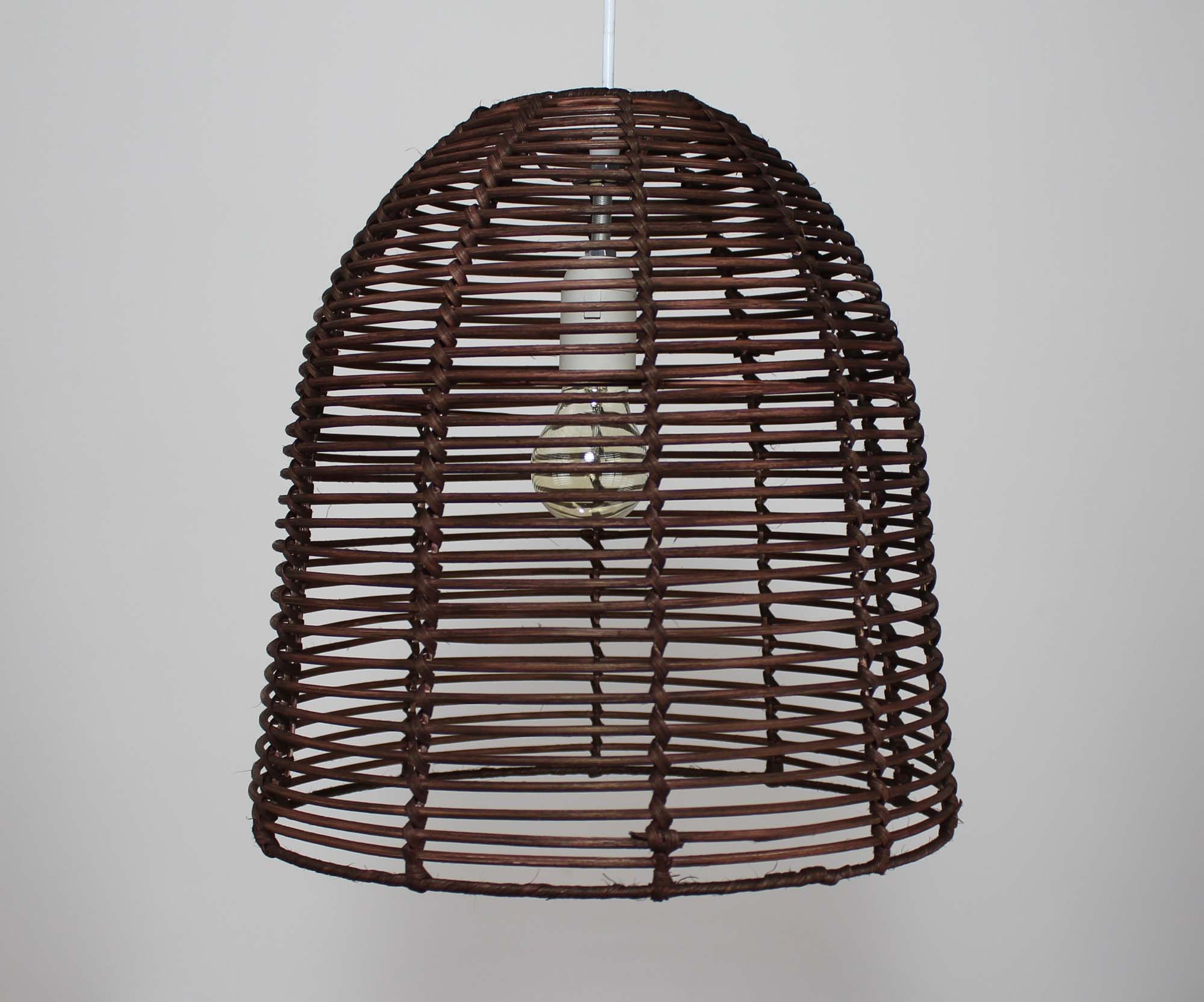 Round-shape Hand Woven Process Rattan Pendant Light  Brown