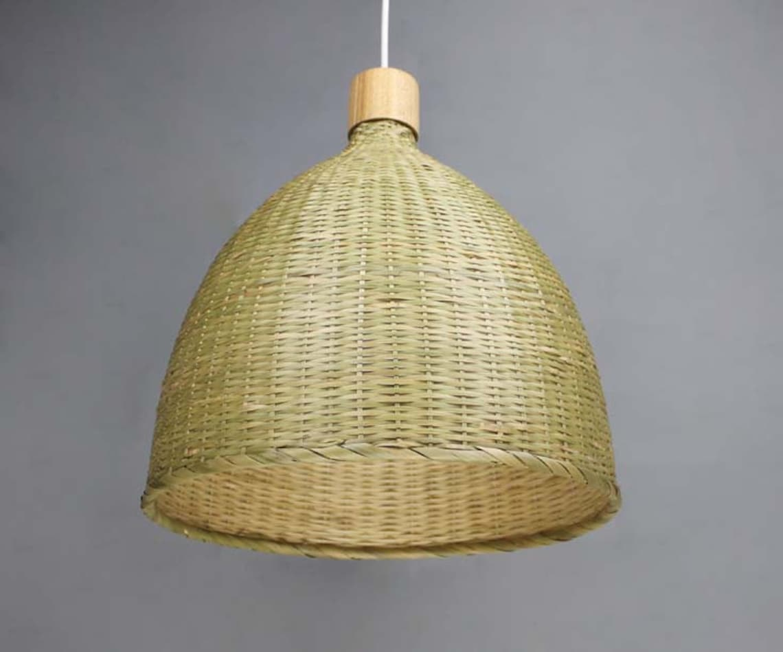 Natural Bamboo Bell Pendant Lights-Bamboo Lighting Fixtures-Bamboo Lamp Shade-Home Living Lighting-Decorative Bamboo Lighting-Bamboo Crafts - Eclairage