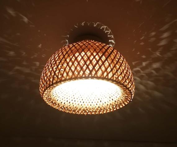 Bamboo Hat Shaped Flush Mount Lighting, Light Fixture Ceiling Mount
