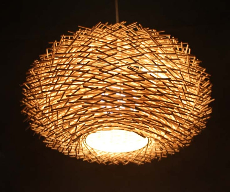 Staggered Form Natural Rattan Birds Nest Pendant Light ...