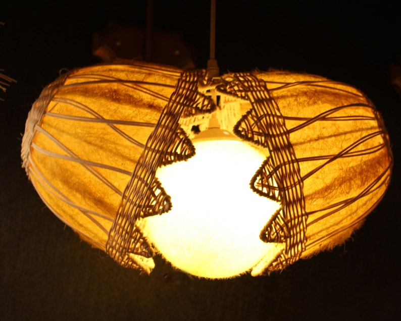 Free Lamp,Palm Bark and Rattan Pendant Lamp Broken Egg Shape Pendant Lighting Hanging Lamp Home decor Lighting Indoor Lighting Ceiling Lamp