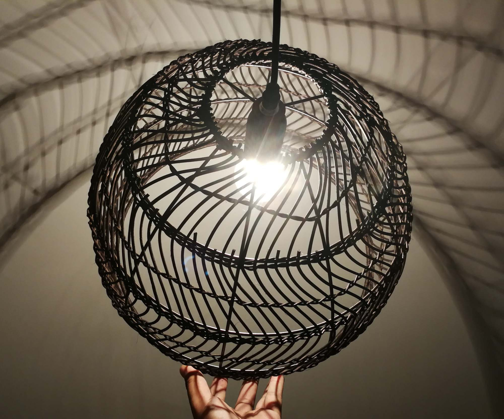 Bell-shaped Rattan Pendant Light  Hand Woven Process of Wave