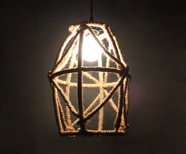 Hand Woven From Hemp Rope Sample Modern Style  Decor Lighting