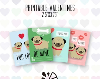 Pug Valentine Card Kids Printable INSTANT DOWNLOAD PDF