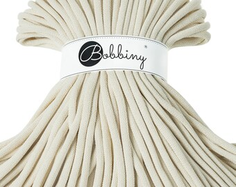 9mm Bobbiny Cotton Cord 108 yards (100 meters) - Natural; giant macrame cord, chunky yarn, cotton rope