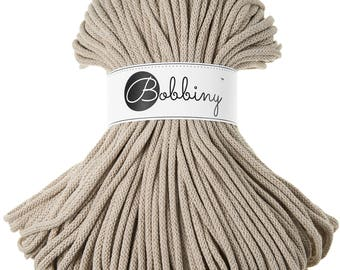 5mm Bobbiny Cotton Cord 108 yards (100 meters) - Beige; macrame cord, chunky yarn, cotton rope