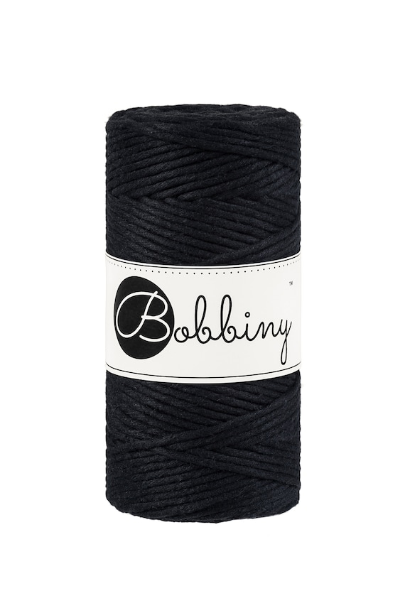 108 yards cotton cord 100 meters twisted macrame cord Black 1.5mm Baby Macrame cord - Single twist macrame string