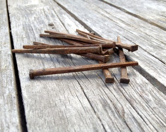 Rusty Antique Square Head Nails, Century Home Architectural Salvage, 12 Nail Set, Metal Assemblage, Craft, Altered Art