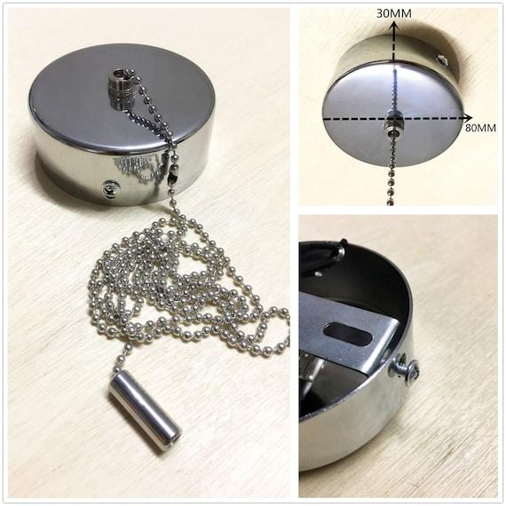 Light Pull Chain Switch Chrome Cover For Bathroom Ceiling Fan Light 100cm Chain