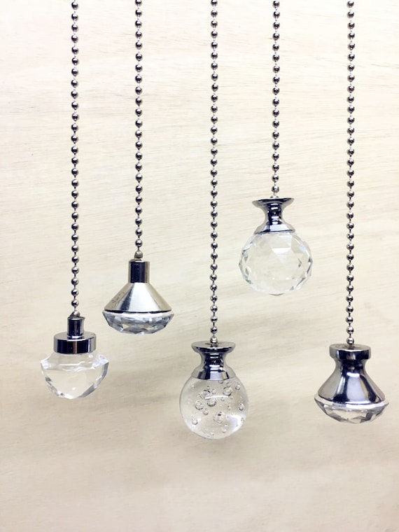 Light Pull Chain Cord Weight Clear Acrylic Crystal Chrome Choose 100cm Chain