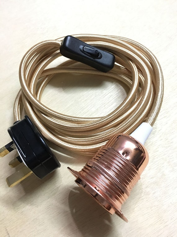 3 Core Champagne Fabric Flex Cable Plug In Pendant Lamp Light Holder E27 Switch