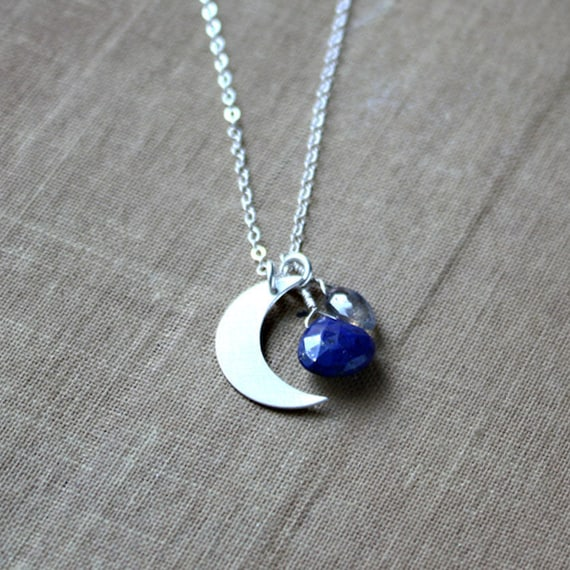 layering gold necklace gemstone necklace celestial necklace gift for her Crescent moon necklace with Lapis Lazuli