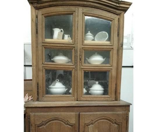 French antique old oak Cupboard on cupboard glass front buffet dresser farmhouse kitchen food cupboard collect or ask for courier quote