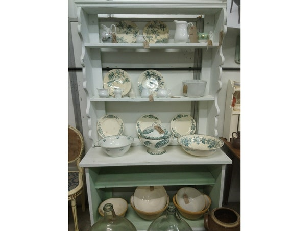 Antique Victorian painted pine dresser with plate rack above deep open base shelves