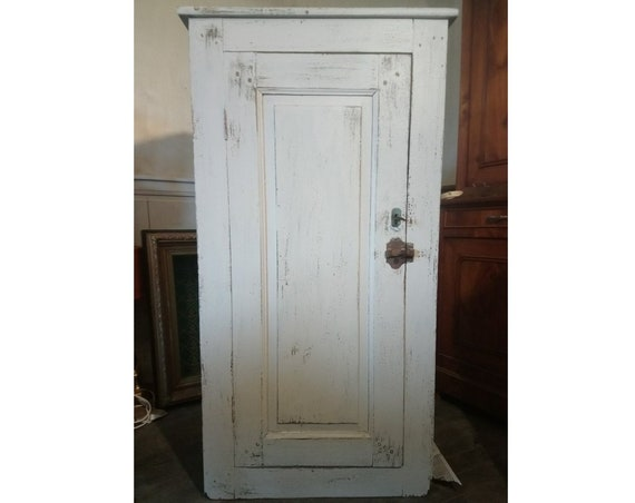 Fabulous French antique old oak and pine chippy painted farmhouse food Cupboard
