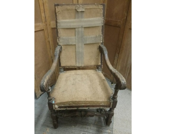 Antique French pair of throne armchairs in state of undress for upholstery project