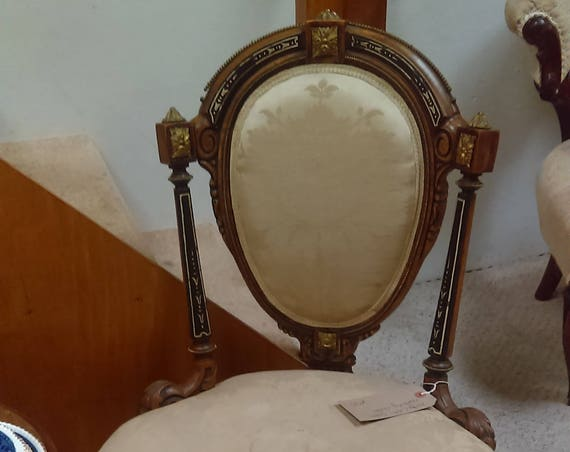 Pretty little antique French gilt and ebonised bedroom chair