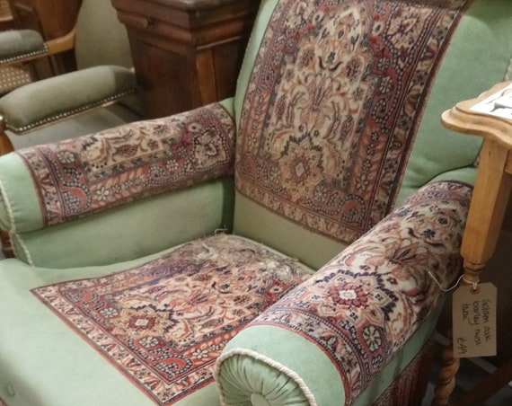 Antique large Victorian roll back armchair with tapestry panels for upholstery project
