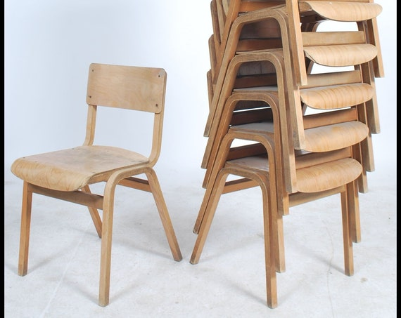 Vintage retro stacking bentwood plywood school chairs adult dining size