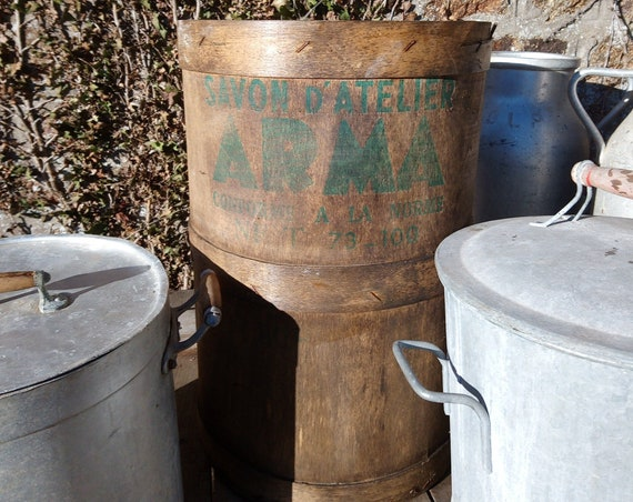 Vintage large wood French soap storage industrial warehouse barrel tub