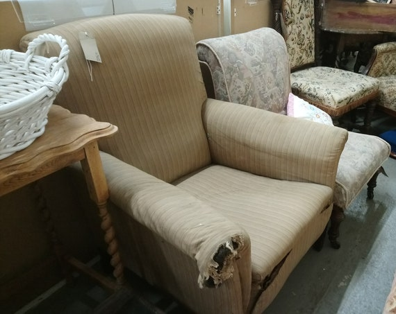 Antique traditional late Victorian armchair for upholstery project
