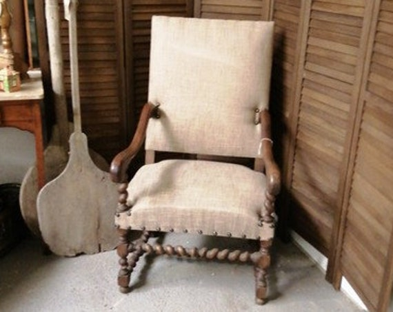 Antique French nineteenth century mouton armchair in linen type fabric