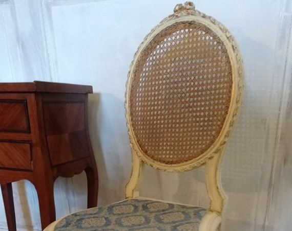 Antique French Louis style salon chair with painted ribbon carved cane back for upholstery