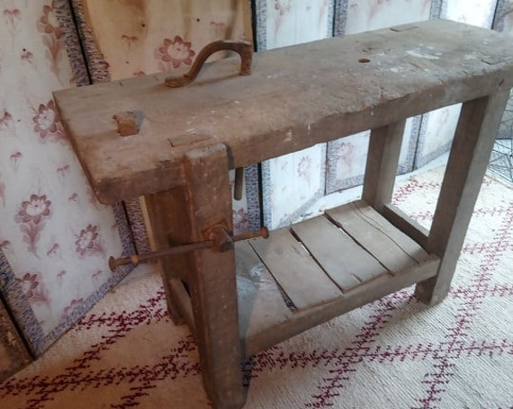 industrial chic antique French oak workshop bench ideal kitchen island unit