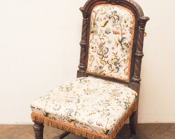 Victorian oak hall chair carved and upholstered possibly French