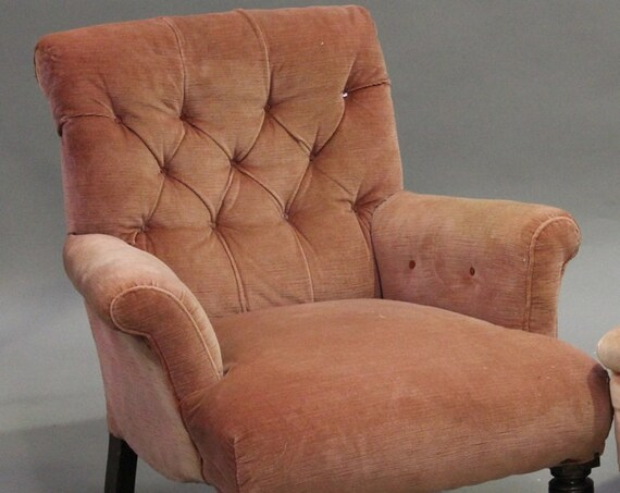 Antique Howard style deep buttoned scroll back armchair suitable for a reupholstery project