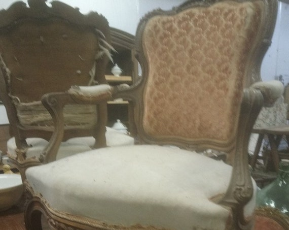 French antique armchair pretty ornately carved Louis XV style fauteuil armchair