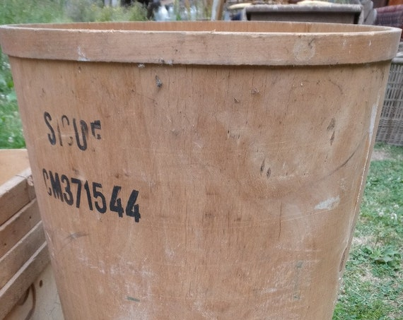 Vintage large wood French storage industrial warehouse tub