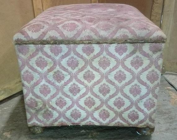 Antique Nineteenth Century upholstered ottoman stool cube storage with bun feet