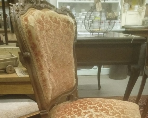 Antique French pretty ornately carved Louis XV style  side chair