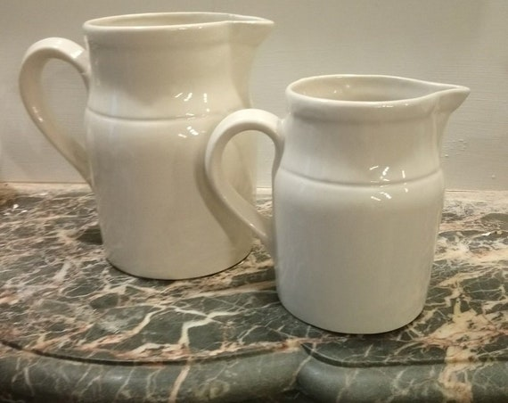 Vintage French Digoin white stoneware milk jug
