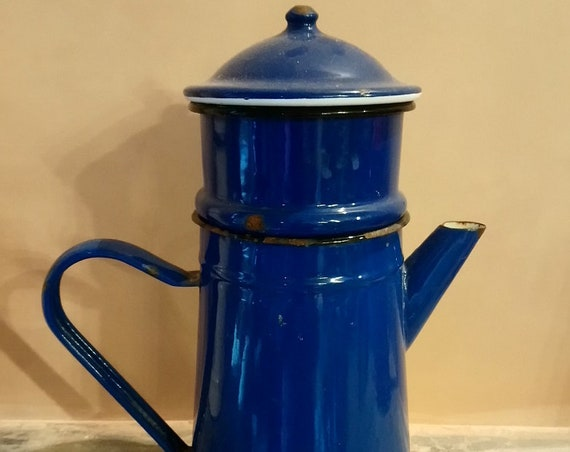 Large Vintage French royal blue enamel coffee pot in sections