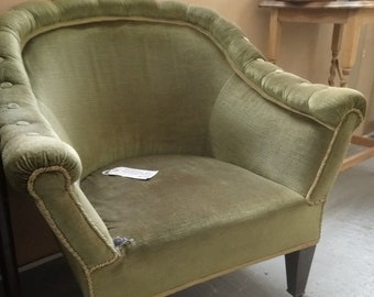 Antique Victorian buttoned roll back tub armchair in pretty shape for upholstery project