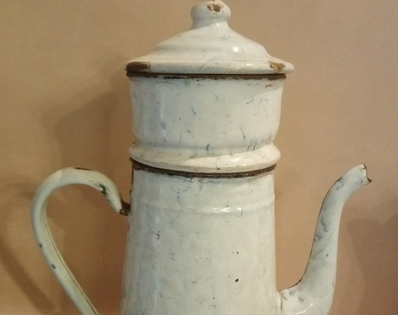 Large Vintage French rare marbled effect enamel coffee pot in sections