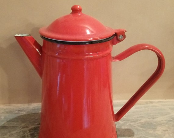 Large Vintage French bright red enamel lidded hot water pot