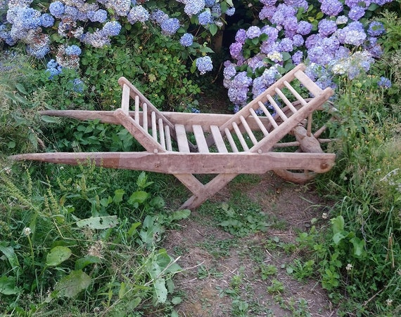 French rustic wooden foresters barrow garden feature shop display