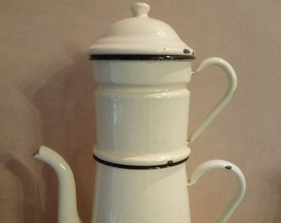 Large Vintage French cream and black trim enamel coffee pot in sections