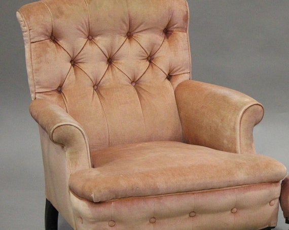 Antique large Howard style deep buttoned scroll back armchair suitable for a reupholstery project