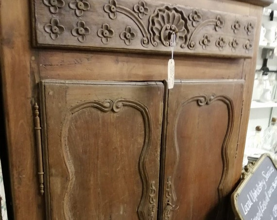 Antique French oak confiture food cupboard with carved door panels and top drawer
