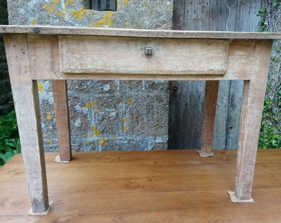 Rustic French oak antique work table with drawer