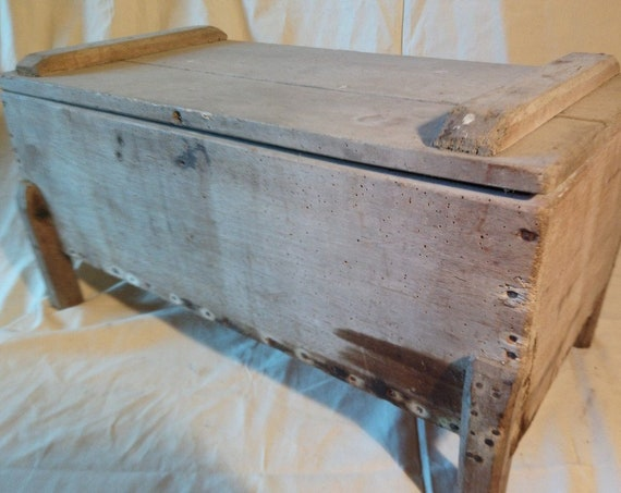 Antique French workman's storage box trunk or chest coffer on legs with interior painted chippy finish