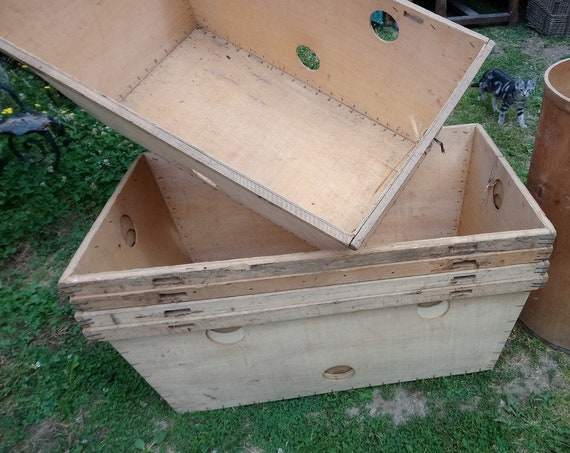 Vintage rustic large wood French storage boxes industrial warehouse tubs