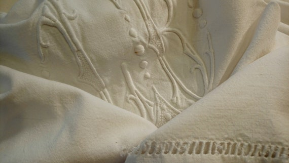 Beautiful antique French linen monogrammed bedding bridal or dowry top sheet