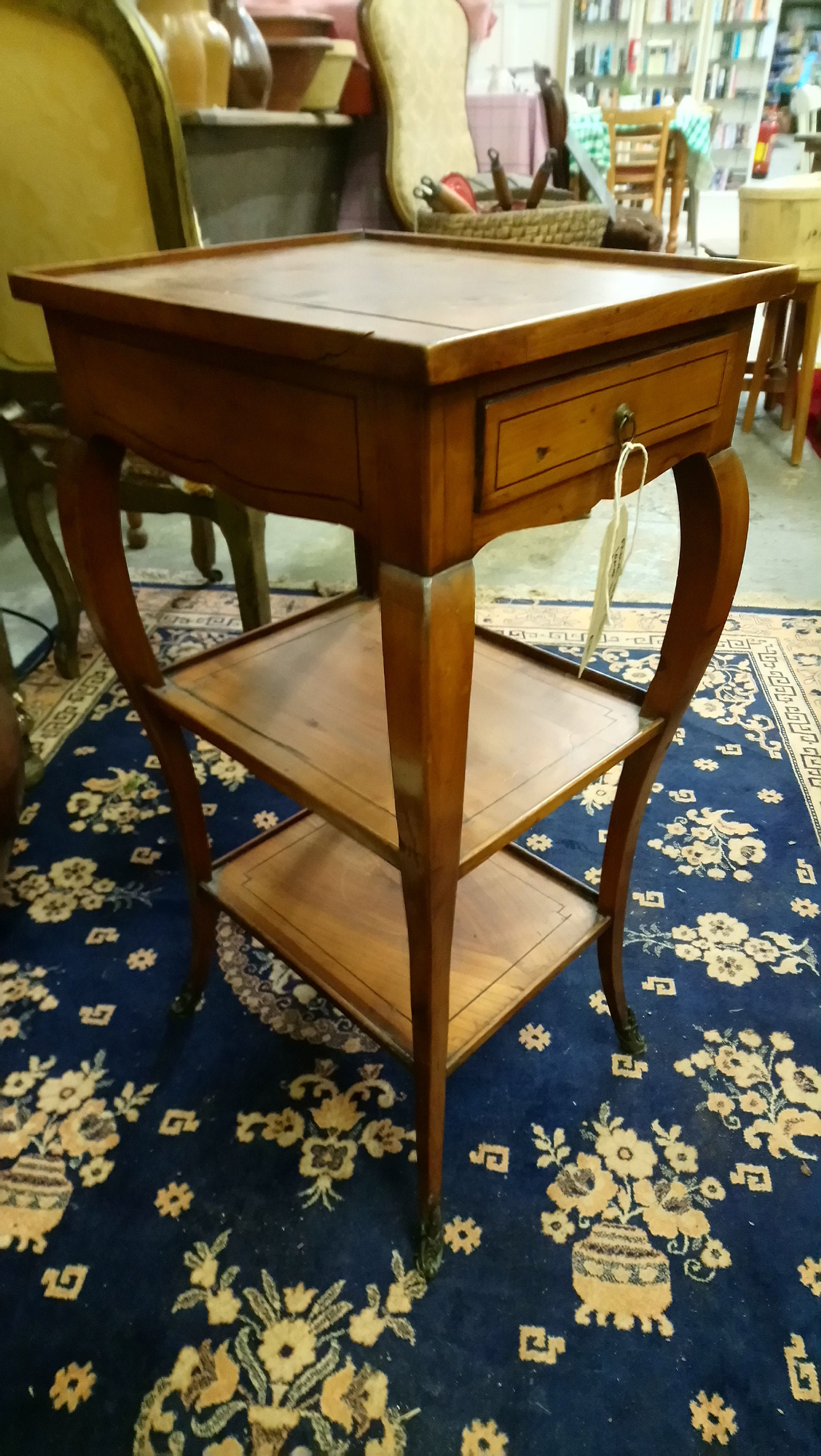 Furniture Beautiful French Walnut Inlaid Top End Table Antiques