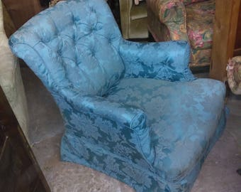 Antique Victorian button back scroll armchair in pretty shape for upholstery project