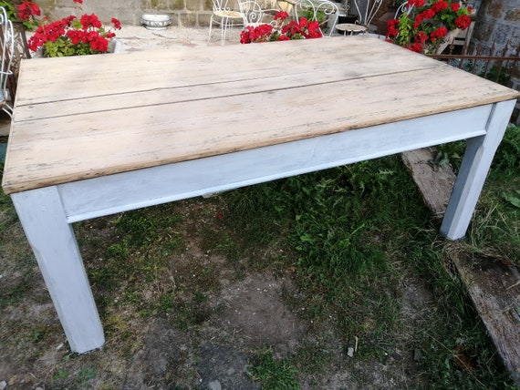 Large Antique French pine scrubbed planked top farmhouse kitchen dining table with painted base